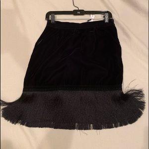 Black velvet skirt with satin fringe